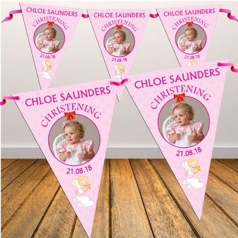 Personalised Girls Christening Baptim Day PHOTO Flag Bunting Banner - N4